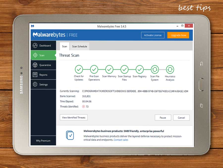 تقوم Malwarebytes بتحديد موقع البرامج الضارة والفيروسات والديدان وأحصنة طروادة والجذور الخفية والمسجلين وبرامج التجسس وإزالتها بشكل فعال